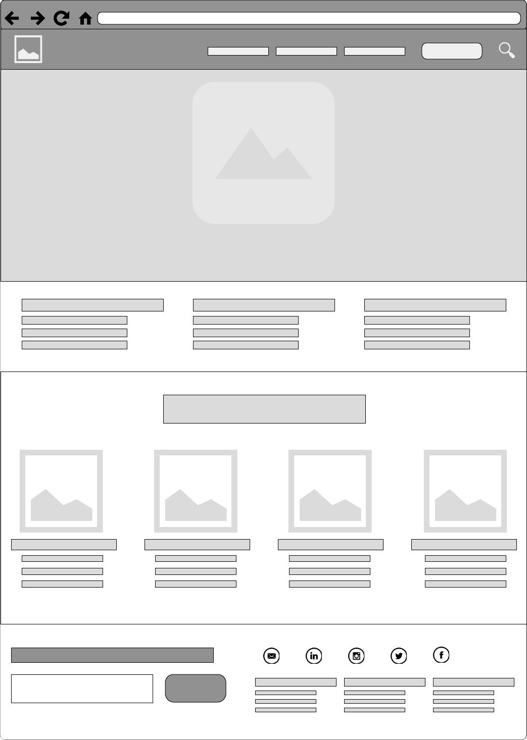 Home Page Basic Wireframe 1